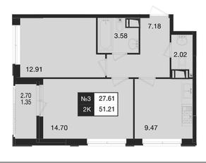 ЖК «Нижегородская 74», планировка 2-комнатной квартиры, 51.21 м²