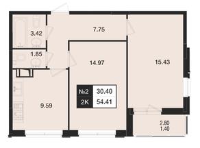 ЖК «Нижегородская 74», планировка 2-комнатной квартиры, 51.41 м²