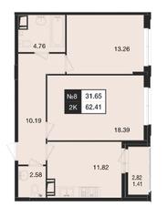 ЖК «Нижегородская 74», планировка 2-комнатной квартиры, 62.41 м²