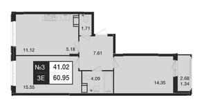 ЖК «Нижегородская 74», планировка 3-комнатной квартиры, 60.95 м²
