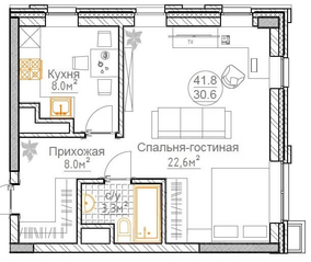 ЖК «Суханово Spa Deluxe», планировка 1-комнатной квартиры, 41.80 м²