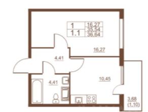 ЖК «Полет», планировка 1-комнатной квартиры, 36.64 м²