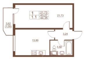 ЖК «Полет», планировка 1-комнатной квартиры, 44.35 м²