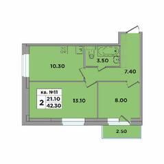 МЖК «ЭкспоГрад 4», планировка 2-комнатной квартиры, 42.30 м²