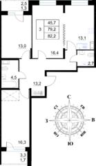 ЖК «Островский», планировка 3-комнатной квартиры, 82.20 м²