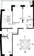 ЖК «Островский», планировка 3-комнатной квартиры, 88.40 м²