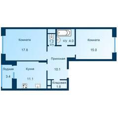 ЖК «Эдельвейс» (ЦентрСтрой), планировка 2-комнатной квартиры, 62.80 м²
