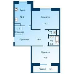 ЖК «Эдельвейс» (ЦентрСтрой), планировка 2-комнатной квартиры, 75.30 м²