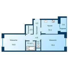 ЖК «Эдельвейс» (ЦентрСтрой), планировка 2-комнатной квартиры, 59.50 м²