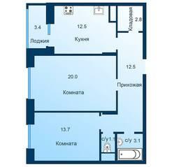 ЖК «Эдельвейс» (ЦентрСтрой), планировка 2-комнатной квартиры, 67.40 м²
