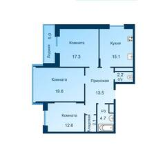 ЖК «Эдельвейс» (ЦентрСтрой), планировка 3-комнатной квартиры, 88.60 м²