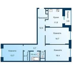 ЖК «Эдельвейс» (ЦентрСтрой), планировка 3-комнатной квартиры, 85.90 м²