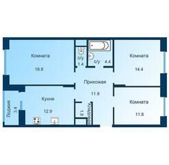 ЖК «Эдельвейс» (ЦентрСтрой), планировка 3-комнатной квартиры, 80.10 м²