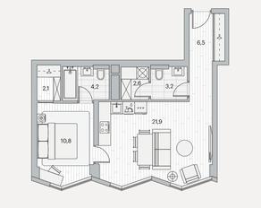 ЖК «Береговой» (Филёвский парк), планировка 1-комнатной квартиры, 51.30 м²
