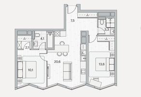 ЖК «Береговой» (Филёвский парк), планировка 2-комнатной квартиры, 61.30 м²
