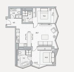 ЖК «Береговой» (Филёвский парк), планировка 2-комнатной квартиры, 72.60 м²
