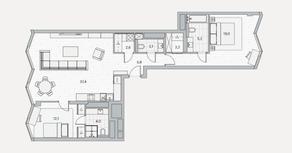 ЖК «Береговой» (Филёвский парк), планировка 2-комнатной квартиры, 90.40 м²