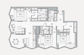 ЖК «Береговой» (Филёвский парк), планировка 3-комнатной квартиры, 119.40 м²