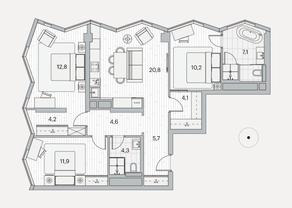 ЖК «Береговой» (Филёвский парк), планировка 3-комнатной квартиры, 84.20 м²
