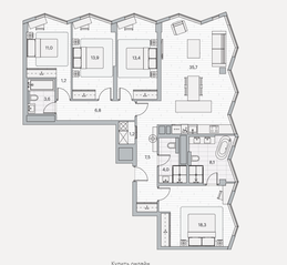 ЖК «Береговой» (Филёвский парк), планировка 4-комнатной квартиры, 124.70 м²