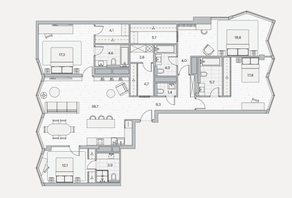 ЖК «Береговой» (Филёвский парк), планировка 4-комнатной квартиры, 154.00 м²