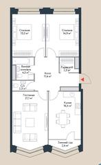 МФК «Ривер Парк», планировка 4-комнатной квартиры, 91.80 м²