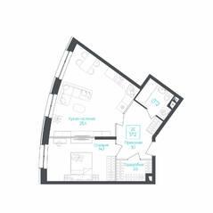 МФК «Monodom Lake», планировка 2-комнатной квартиры, 56.80 м²