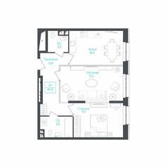 МФК «Monodom Lake», планировка 2-комнатной квартиры, 64.40 м²