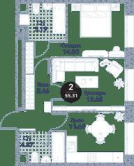 МФК «Серебряный фонтан», планировка 2-комнатной квартиры, 55.31 м²