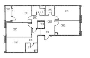 МФК «Серебряный фонтан», планировка 4-комнатной квартиры, 112.50 м²