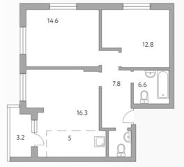МЖК «Живописный», планировка 3-комнатной квартиры, 66.30 м²