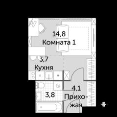 МФК «Движение. Тушино», планировка студии, 26.40 м²