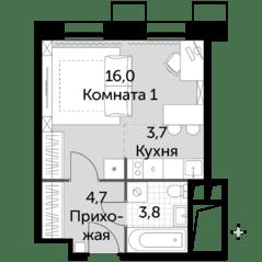 МФК «Движение. Тушино», планировка студии, 28.20 м²