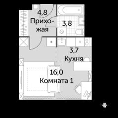 МФК «Движение. Тушино», планировка студии, 28.30 м²