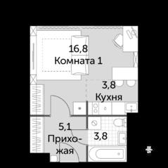 МФК «Движение. Тушино», планировка 1-комнатной квартиры, 29.50 м²