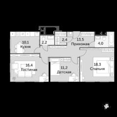 МФК «Движение. Тушино», планировка 3-комнатной квартиры, 78.10 м²