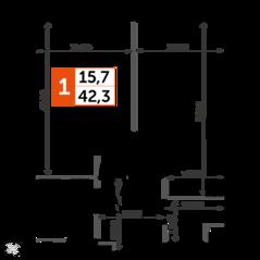 ЖК «Sydney City», планировка 1-комнатной квартиры, 42.30 м²