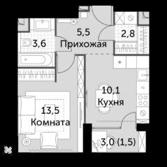 ЖК «Sydney City», планировка 1-комнатной квартиры, 37.00 м²