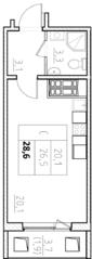 ЖК «Нева Сити» (Кировск), планировка студии, 28.60 м²