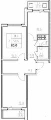 ЖК «Нева Сити» (Кировск), планировка 2-комнатной квартиры, 63.60 м²