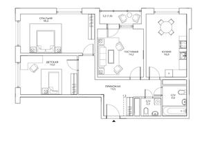 ЖК «Авиатика», планировка 3-комнатной квартиры, 85.80 м²