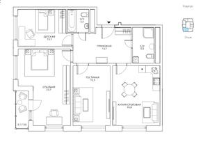 ЖК «Авиатика», планировка 3-комнатной квартиры, 96.20 м²