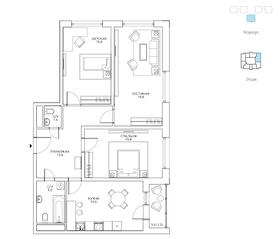 ЖК «Авиатика», планировка 3-комнатной квартиры, 88.80 м²