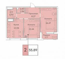 ЖК «Аквилон Beside», планировка 2-комнатной квартиры, 55.89 м²
