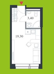 МФК «Citimix», планировка студии, 22.70 м²