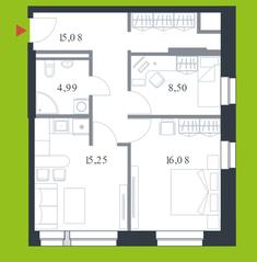 МФК «Citimix», планировка 2-комнатной квартиры, 59.90 м²