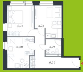 МФК «Citimix», планировка 2-комнатной квартиры, 65.40 м²