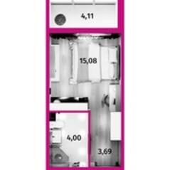 МФК «Avenue-Apart на Дыбенко», планировка студии, 24.00 м²