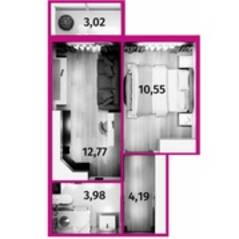 МФК «Avenue-Apart на Дыбенко», планировка 1-комнатной квартиры, 32.40 м²