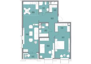 ЖК «Вестердам», планировка 3-комнатной квартиры, 103.52 м²